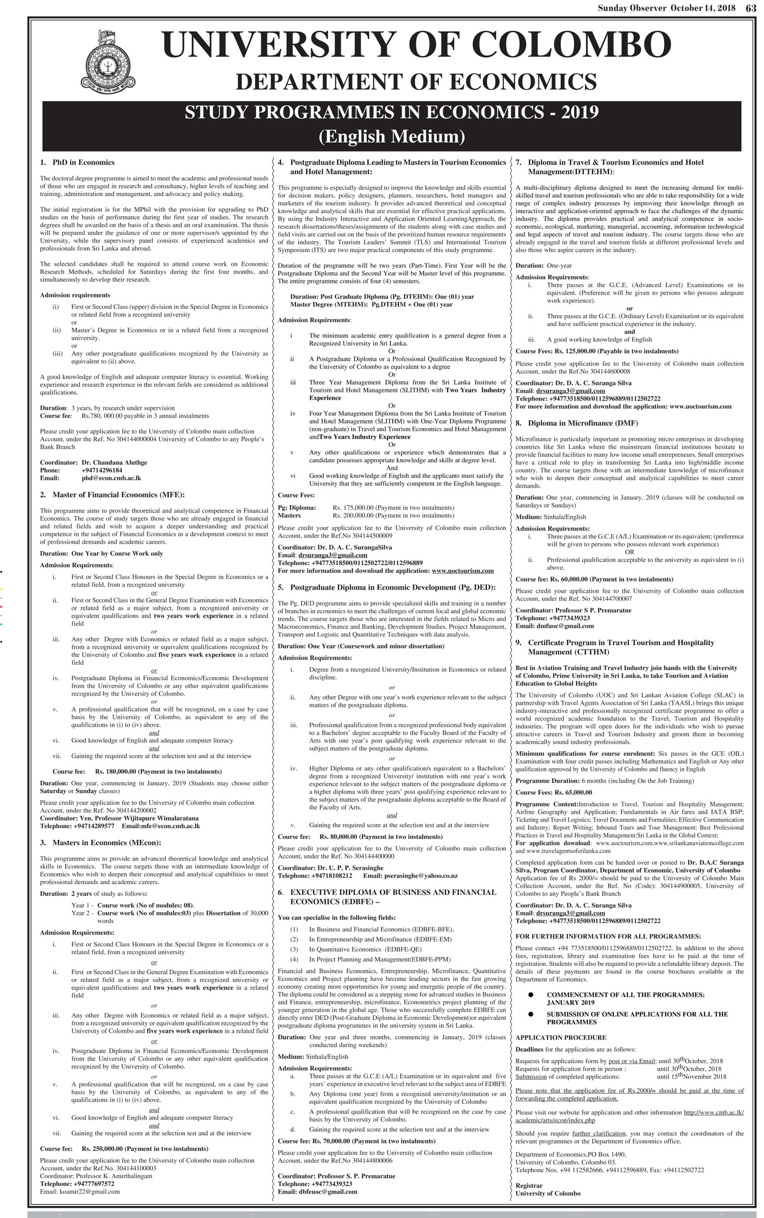 Study Programmes in Economics - Department of Economics - University of Colombo